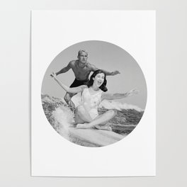 Tandem Couple Surfing Poster