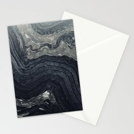 Dark Gray Marble Pattern Stationery Cards