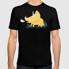 Yellow Triceratops Dinosaur SMALL Mens Fitted Tee Black