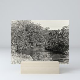 Black and white study of a tranquil river Mini Art Print