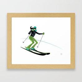 Ski Girl Turns Framed Art Print