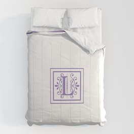 Monogram Letter L in Violet and White Comforters