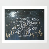 """It is our choices"" Dumbledore Harry Potter Quote Art Print"