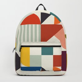 mid century retro shapes geometric Backpack