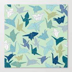 Paper Cranes- Green Canvas Print