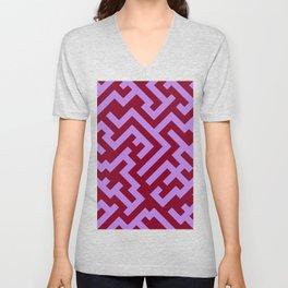 Lavender Violet and Burgundy Red Diagonal Labyrinth Unisex V-Neck