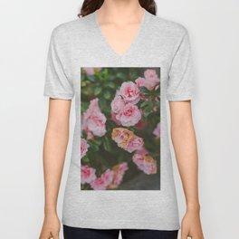 Soft Pink Flowers Unisex V-Neck