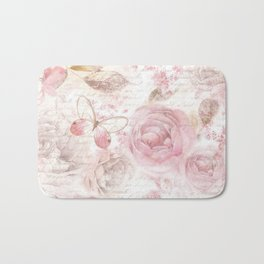 Vintage pastel pink brown butterfly floral typography Bath Mat