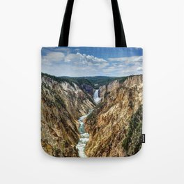 Grand Canyon of Yellowstone River and Lower Falls from Artist Point Tote Bag
