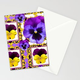 ASYMMETRICAL SPRING PURPLE & YELLOW PANSIES  ART Stationery Cards