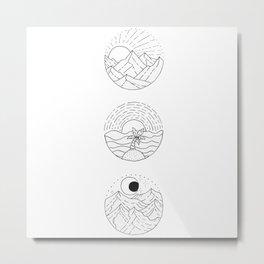 Natural Landscape Circular Vignette Trio Design Metal Print