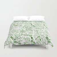 school Duvet Covers featuring School Chemical pattern #1 by Juliana RW