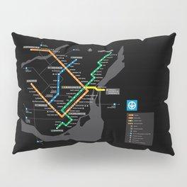 STM Metro Subway Map Carte du Metro Montreal Black HD Pillow Sham