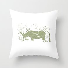Black Rhino Throw Pillow