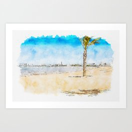 Aquarelle sketch art. European sandy beach, palm tree and blue sea. Mar Menor. Spain Art Print