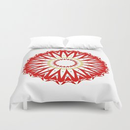 Mandala with colon cancer ribbon Duvet Cover