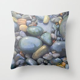 River Stones in Oil Throw Pillow