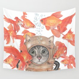 Scuba Cat Among the Fishes Wall Tapestry