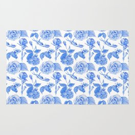 Blue Roses Watercolor Rug