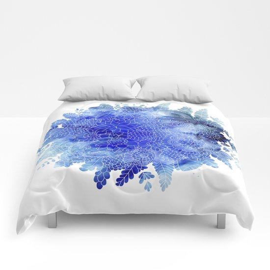 Blue Floral Pattern 03 Comforters