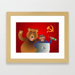 Russian hacker with laptop, vodka and own pet bear on USSR flag background Framed Art Print