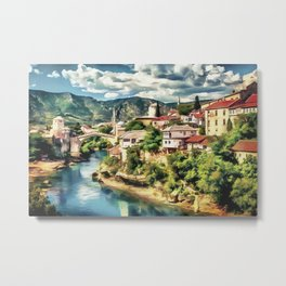Mostar Old Bridge painting, old city of Mostar scenery, Stari Most Bosnia, nature travel art poster Metal Print