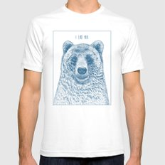 Bear (Ivory) Mens Fitted Tee SMALL White