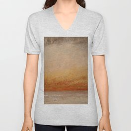 "Gustave Courbet ""Soleil couchant, Marine (Sunset, Seascape)"" Unisex V-Neck"