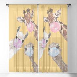 Bubble Gum Gang in Yellow Sheer Curtain