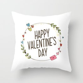 Simple Happy Valentine's Day with Floral Wreath Throw Pillow