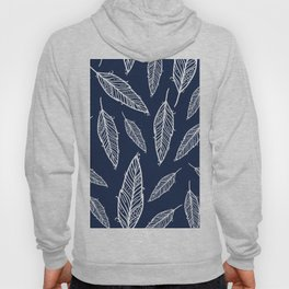Dark blue and white falling feathers Hoody