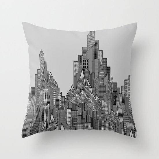 Buildings & Mountains  Throw Pillow