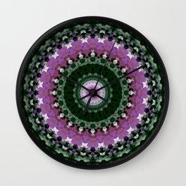 green mandala, kaleidoscope, green, mandala, green and purple, ethnic Wall Clock