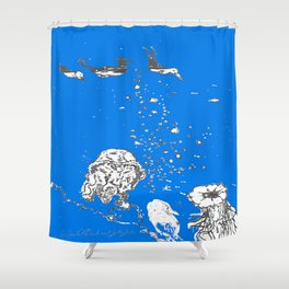 Two Tailed Duck and Jellyfish Royal Brilliant Blue Shower Curtain