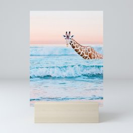 Going For A Dip-Giraffe In The Ocean Mini Art Print