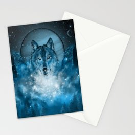 wolf in blue Stationery Cards