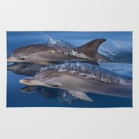 dolphins Area & Throw Rugs featuring Dolphins by Chloe Yzoard