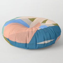 Shapes and Layers no.30 - Large Organic Shapes Blue Pink Green Gray Floor Pillow