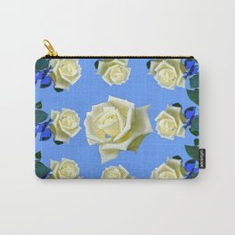 WHITE ROSES BLUE GREEN GARDEN DESIGN PATTERN Carry-All Pouch
