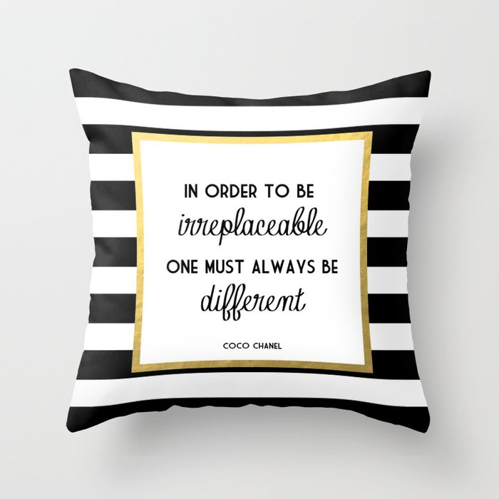Coco Gold Irreplaceable Fashion Quote Throw Pillow