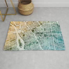Detroit Michigan City Map Rug