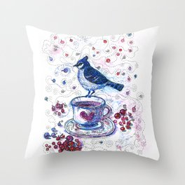 Winter Tea (Ble Jay) Throw Pillow