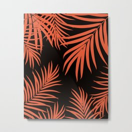 Palm Leaves Pattern Orange Vibes #1 #tropical #decor #art #society6 Metal Print