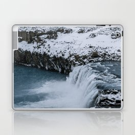 Waterfall in Icelandic highlands during winter with mountain - Landscape Photography Laptop & iPad Skin