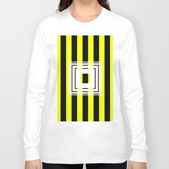 Bumblebee Box - Geometric, bold, yellow and black striped design Long Sleeve T-shirt