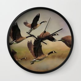 Geese On A Foggy Morning Wall Clock