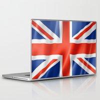 british flag Laptop & iPad Skins featuring UK / British waving flag by GoodGoods