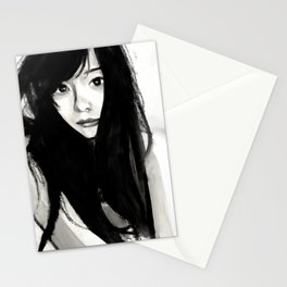 Gorgeous in Black Hair Stationery Cards