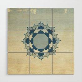 Lotus Mandala Light Blue Center Sand Water Wash Wood Wall Art