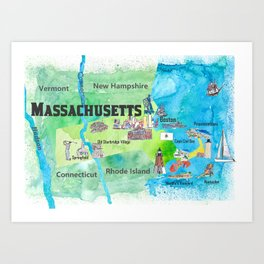 USA Massachusetts State Travel Poster Map with Touristic Highlights Art Print